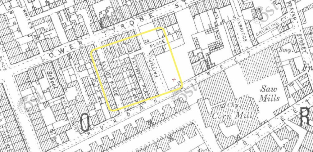 Purdon St with Elliot Place and Faithful Place highlighted (OSi)